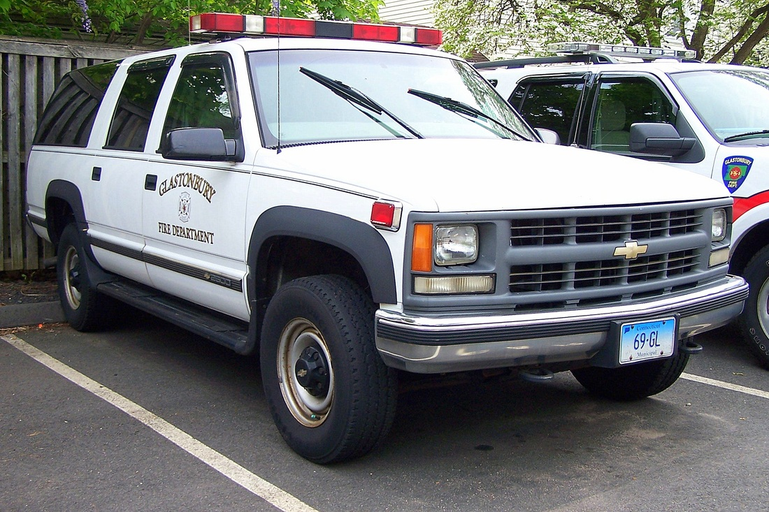 Glastonbury's Car 8, a 1999 Chevy Suburban staff car.