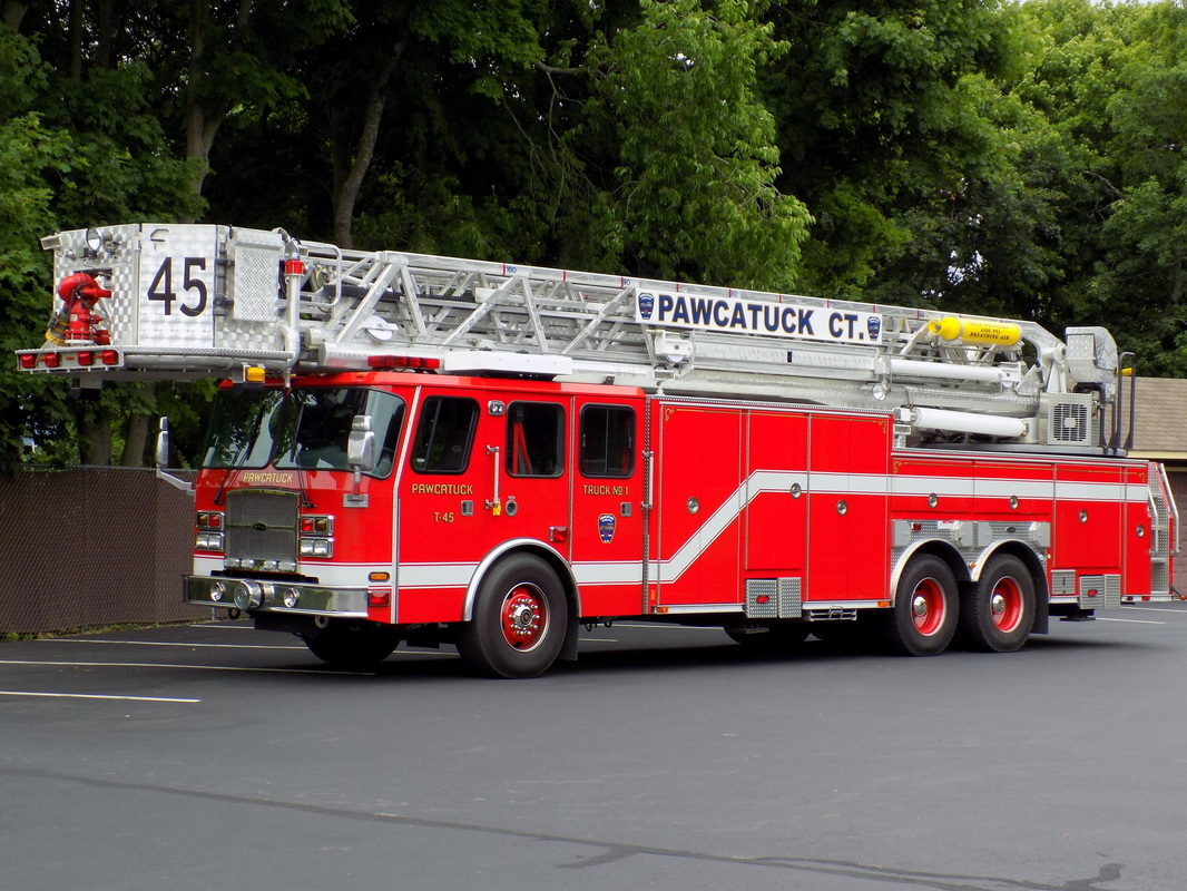 Pawcatuck's Tower 45, a 2009 E-One 100ft RMA tower ladder truck.