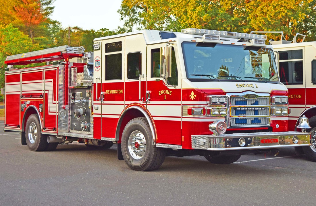 Newington's Engine 1, a 2017 Pierce Velocity.