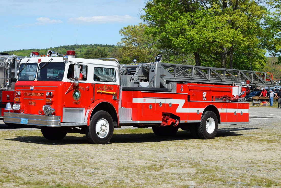 Sturbridge's Ladder 1, a 1976 Maxim 100ft MMA ladder truck.